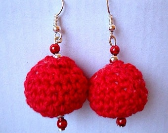 Amigurumi crochet earrings with dangling balls Red