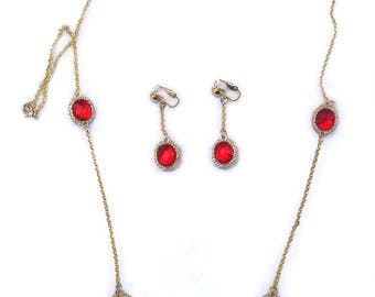 "Vintage Red Long Necklace 32"" & Earrings Set Clip On Parure"