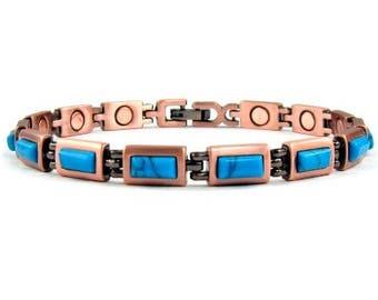 Small Magnetic Bracelet for Women, Copper Link Bracelet with Magnets #MCB-6129