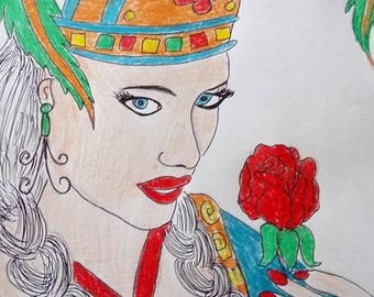 drawing woman hat with feathers