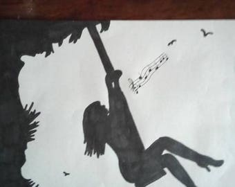 drawing woman swinging on a swing