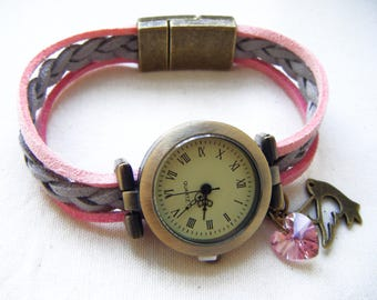 Pretty girly pink and gray with magnetic closure watch