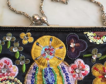Vintage Beaded Evening Purse, Jones New York and Co Floral Fabric Clutch