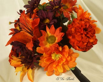 Fall Colors Bridal Bouquet, Orange and Yellow Wedding Flowers, Tiger Lily, Zinnia and Black Eyed Susan Bride Bouquet, Autumn Bridal Bouquet