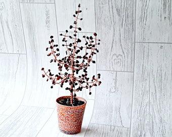 Garnet gemstone tree, gem tree, crystal tree, feng shui tree, wealth tree, bonsai tree,  wire tree, wire tree sculpture, home decor,