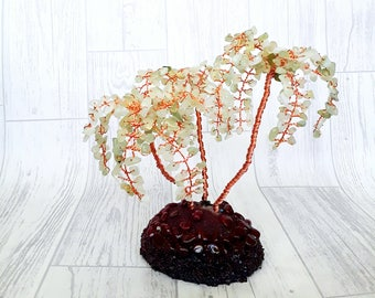 Olive jade crystal tree, gemstone tree, gem tree, feng shui money tree, wire tree, tree sculpture, tree of life, wishing tree, palmtree