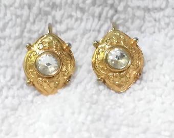 Vintage pierced  goldtone nugget and CZ earrings