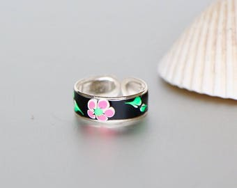 Printed Toe Ring, Black Toe Ring, Silver Toe Ring, Flower Print Toe Ring, Bohochic,Feet jewelry, Toe Ring For Her, Simple Toe Ring ,(TS40B)