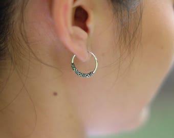 Bali Hoops, 16mm Silver Ear Hoops, Minimalist Earrings, Bohochic Jewelry, Fashionable Hoops, Ear Accessory, Bridal Gift, Gift Hoops (E92)