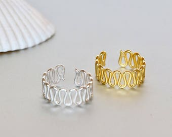 Waves Toe Rings Set, Gold And Rose Gold Toe Ring, Simple And Pretty Toe Band, Boho Style Gift For Her, (TS29/30)