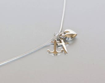 Silver Chain With Heart, Anchor And Cross Pendants, Sterling Silver Chain, Silver Pendant,  Silver Necklace, Spiritual Necklace,  (P91)