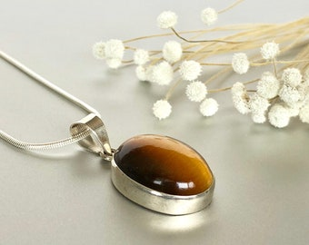 Silver And Tiger Eye Pendant, Tiger Eye Necklace, Silver Neck Charm, Brown Stone Pendant P137