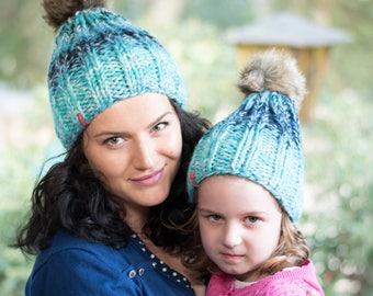 Matching knit hats / Pom pom hats / Winter hats / Wool hat / Mommy and me hats / Knit beanie / Women knit hat / Blue hat / Toddler knit hat