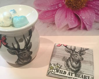 Hand Decorated Stag Burner with matching Stand