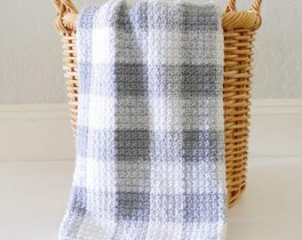Crochet Grey Gingham Blanket Pattern - Daisy Farm Crafts
