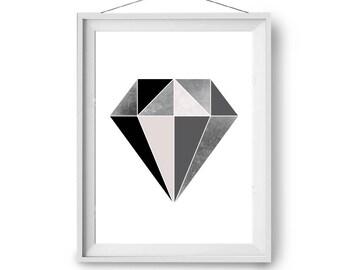 Diamond Print, Geometric Art, Scandinavian Print, Abstract Art, Minimal Print, Large Print, Nordic Home Decor, 20x24 in Art, Print Avenue