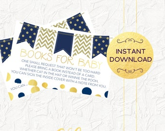 Navy and Gold Books for Baby Insert, Boy Baby Shower, Baby Shower Invitation Insert, Baby Boy Invitation, Books for Baby, Instant Download