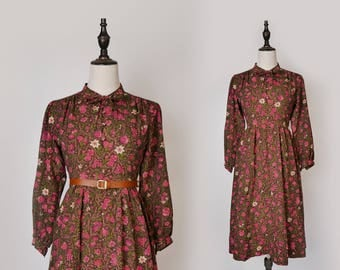 Brown Vintage Women Dress Pink Flower Print 1980s Bow-tie Collar Long Sleeves Size M