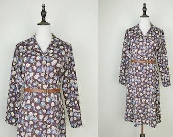 Brown Vintage Dress Flower Print Long Sleeves Size S-M