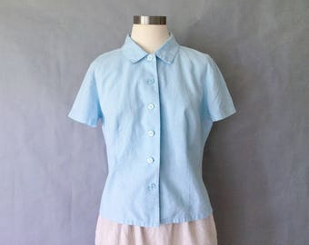 Vintage linen minimalist button down short sleeve blouse/shirt/top women's size S/M