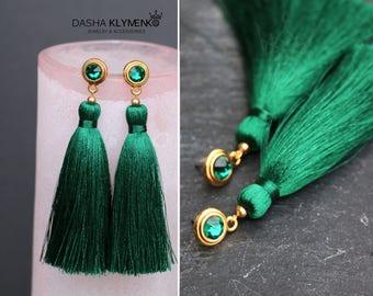 green party jewelry bohemian green jewelry green long earrings fringe dangles green boho drops silk tassel earrings emerald earrings