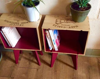 Coffee table hand made with crates of wine and compass feet