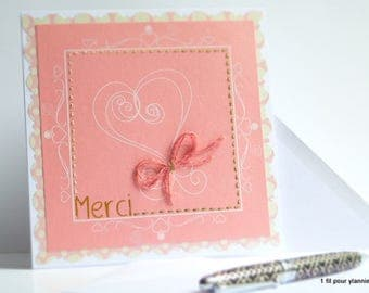 Hand embroidered card / card / heart/love/card thank you card / 1filpourylannie/double card.