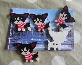 5 buttons 29 x 27 mm depicting dogs Chihuahuas