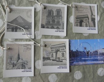 5 monuments of Paris vintage style tags