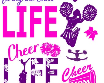SVG Cut File Cheer Life for Tshirt Tote  Cheerleading DXF PDF eps and .png-Cheer Mom- Cheerlead-Coach-Gift-Life-Sports-Cricut-Silhouette-