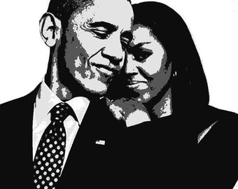 Potus and Flotus/Portrait of President Barack And First Lady Michelle Obama