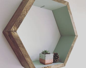 Hexagon cubbie, English garden colour, green shelves, colour shelves, beehive shelves, floating hexagon shelves , hexagon shelves, tumblr