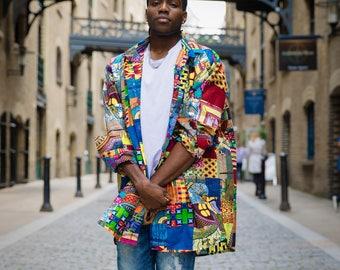 African Patchwork Longline Shirt- Allagi Shirt - Colourful Shirt - Hidden Pockets - African Clothing - Bright Shirt - Festival Shirt - Afri