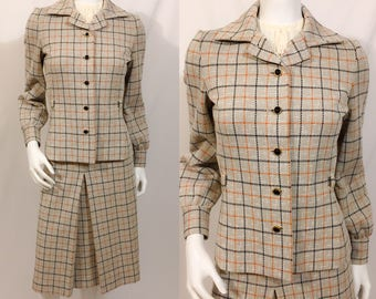 Vintage 1970s Jacket and Skirt, Vintage Plaid Suit, Kimberly Suit, Skirt and Blazer