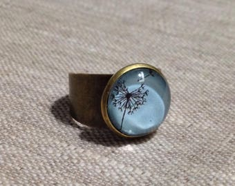 Ring large round cabochon - dandelion - dandelion - luck - wishes