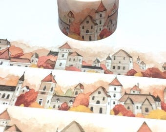 maple tree red house washi tape 5Mx 3cm classic village landscape fairy tale red maple scenes historical building sticker wide tape decor
