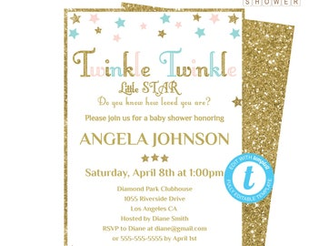 Baby Shower Invitation, Printable Invitation, Twinkle Twinkle Little Star Baby Shower, Gender Neutral Baby Shower, Pink Blue and Gold STPBG