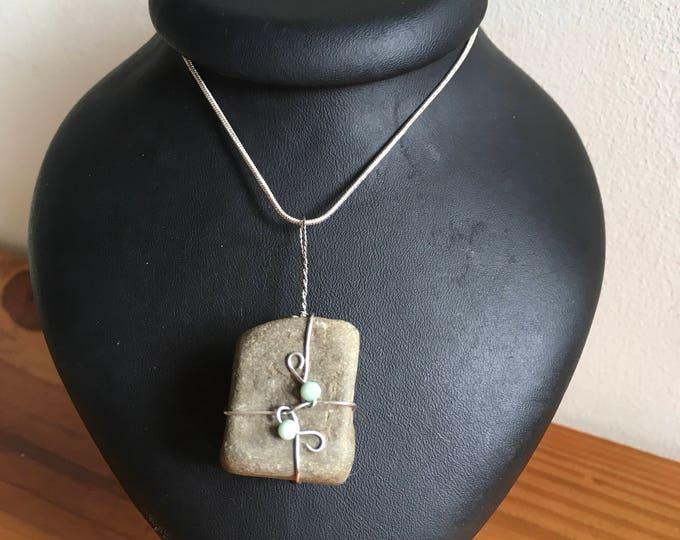 Stunning square rock pendant