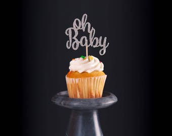 Oh Baby cupcake topper!, Set of 12 cupcake toppers, baby shower cupcake topper, gender reveal cupcake topper