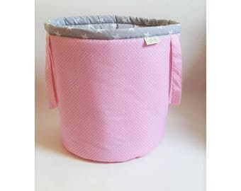 Basket for toys, grey stars /pink dots, cotton