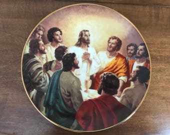 """Hamilton Collection """"The Lord's Supper"""" Portraits of Jesus Plate by Warner Sallman Limited Edition 1943"""