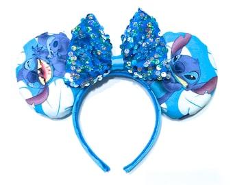 Stitch Mouse Ears Handmade - Lilo and Stitch Mouse Ears - Minnie Mouse Ears - Disney Ears - Mickey Mouse Ears - Stitch Ear Headband - Stitch