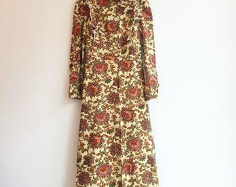 vintage paisley gucci style bohemian hippie maxi dress gown S