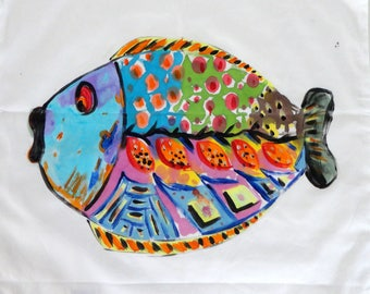 decorated with a fish pillow cover hand - painted home decor-