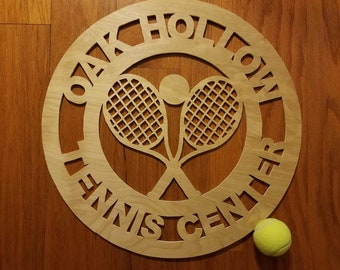 Wooden Custom Door and Wall Hanger; TENNIS Center Tennis Courts Pro Shop; Your Custom Message Wall Decoration; FREE SHIPPING, Priority Mail