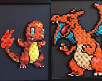 Salam che pixel art etsy - Pokemon evolution salameche ...