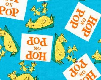 Dr Seuss Hop on Pop Blue Fabric from Robert Kaufman quilting cotton fabric