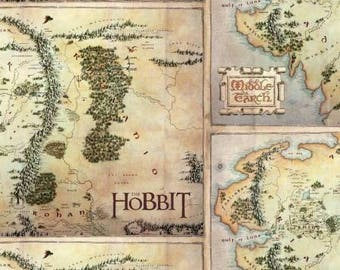 Tan The Hobbit Map Digitally Printed Digitally Printed from Camelot Fabrics 23210103J-1 tan cotton fabric by the yard metre quilting camelot