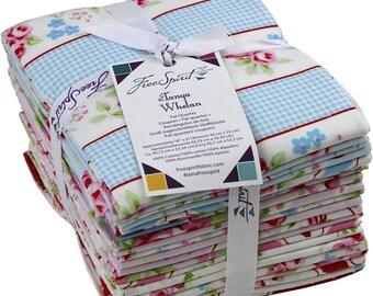 Tanya Whelan Rambling Rose Fat Quarter Bundle - 21 pieces quilting cotton freespirit precut roses floral cherries pink blue