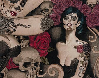 Las Elegantes in Dark Smoke from Alexander Henry Nicole's Prints 8569B day of the dead skulls roses pin up girls quilting cotton fabric yard